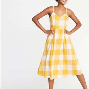 Old navy fit and flare cami midi gingham yellow